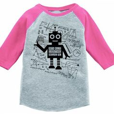 Math Rules Everything Around Me Robot Kids Baseball T-Shirt