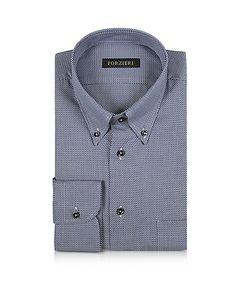 Blue and White Button-down Woven Cotton Shirt #DesignerHandbags #DesignerShoes