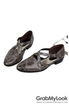 d367a5ab456362 GrabMyLook Snake Skin Exotic Leather Point Head Cross Straps Mens Oxfords  Sandals Shoes Men s Sandals