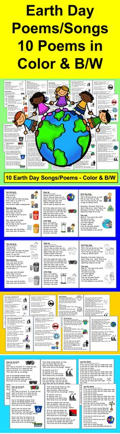 $ Earth Day Poems and Songs - 22 Pages – 2 versions of each – color and B/W - 10 Earth Day Songs at a variety of levels to sing to popular children's songs. Enjoy poetry during April Poetry Month while learning about Earth Day, too! Use during shared reading or guided reading.