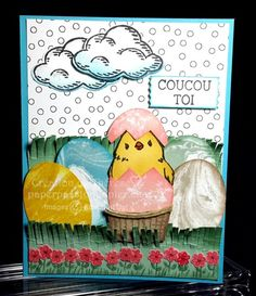 Fun Easter card.  The Perfectly Artistic DSP is perfect for making the Easter Eggs.