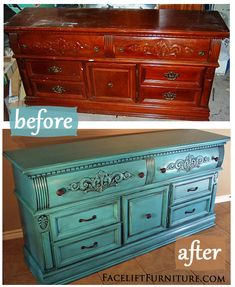 "Turquoise painted dresser with Ralph Lauren ""Black Truffles"" glaze on the details. ~ FurnitureFacelift.com"
