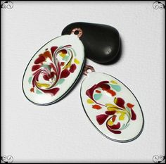 Garden Bloom... Handmade Torch Fired Enamel Charms Beads Glass Oval Copper…