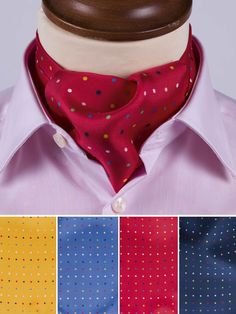 Polka Dot 100% Silk Cravat - Get spotted in our fabulous new polka dot 100% silk cravat, available in a choice of four colours – Gold, Sky, Red and Navy.