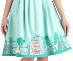 turquoise london twirl skirt