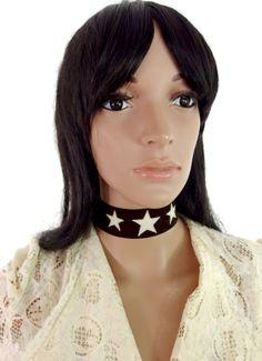 HUZZAR DESIGN 70s Style Beautiful  Triple Star Choker In Cream And Brown