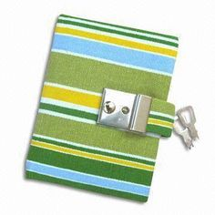 Notebook of Cloth Cover with Colorful Stripes and Lock Keys, Measures 9.5 x 12.5 x 2cm