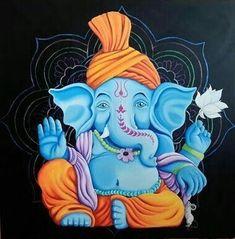 Clay Ganesha, Ganesha Painting, Ganesha Art, Lord Ganesha, Sri Ganesh, Ganesh Ji Images, Ganesha Pictures, Indian Traditional Paintings, Indian Paintings