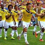 Teofilo Gutierrez of Colombia celebrates with team-mates