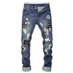 18.79$  Watch now - http://alih6b.shopchina.info/go.php?t=32800862172 - 2017 New Fashion hot holes spliced summer long blue USA Men Stylish Ripped Jeans Pants Biker Skinny Slim Straight Denim Trousers 18.79$ #magazineonlinebeautiful