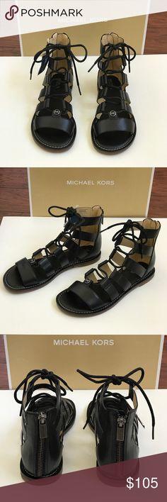 e0be8aea41e MICHAEL KORS Archer Gladiator Leather Sandal Black Guaranteed Authentic! Brand  new in box! Beautiful