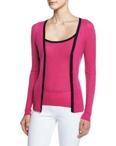 Michael Kors Contrast-Trim Long-Sleeve Cashmere Cardigan, Geranium, Women's, Size: S