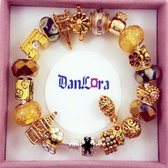 Authentic-Pandora-Sterling-Silver-Bracelet-with-Gold-Plated-Euro-Charms-Threaded