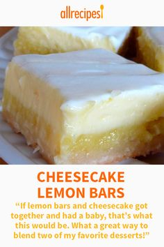 Cheesecake Lemon Bars If lemon bars and cheesecake got together and had a baby thats what this would be What a great way to blend two of my favorite desserts Dessert Dips, Smores Dessert, Köstliche Desserts, Easy Lemon Desserts, Lemon Dessert Recipes, Dessert Food, Lemon Curd Dessert, Lemon Recipes, Sweet Recipes