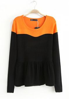 Orange Cotton Acrylic Round Neck Long Sleeve Patchwork Tops