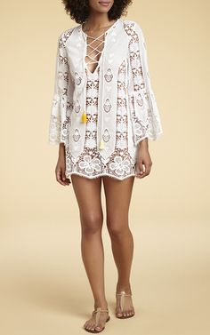 Karla Lace Up Mini Dress by MIGUELINA for Preorder on Moda Operandi