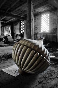 The Ceramics Factory of Devezas - Vila Nova de Gaia, Portugal. Abandoned ornaments and statuary lie in ruins all over the factory.
