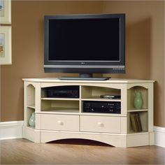 Sauder Harbor View Corner Entertainment Credenza Antiqued White Tv Stand