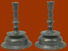 Very rare, very early pair of low-bell, knop stemmed pewter candlesticks.