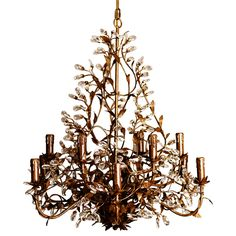 Wyld Home Chateau Chandelier: Big, bold and very glam. This beautiful 12-bulb chandelier, loaded with crystal drops and decorative leaves, has bronze and coppery gold highlights. The dark tones are equally fabulous whether your decor tends towards the dark or light side. Hang it low for extra impact and don't think that chandeliers are only at home in the centre of a room, picture how fab this would look hung in a corner or along a side wall.  This chandelier is intended to be used with…