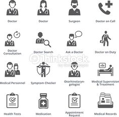 Vector Art : Medical Services Icons Set 3 - Black Series