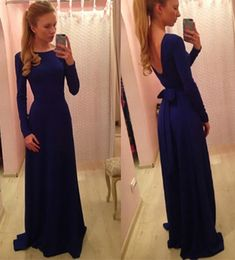 Long Sleeve Backless Prom Dresses with Self-tile Ribbon, Navy Blue Evening Dresses with Low Back, Boat Neck Prom Dresses