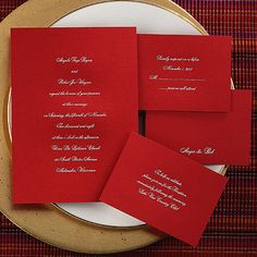 Traditional style red with silver ink invitations