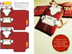 Sinterklaas cadeau label envelop Christmas Tag, Winter Christmas, Christmas Crafts, Xmas, Free Christmas Printables, Saint Nicholas, Pretty Packaging, Card Tags, Confetti