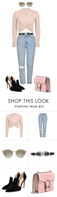"""""""X"""" by gccassadrias ❤ liked on Polyvore featuring Topshop, Miu Miu, Gianvito Rossi, Gucci and Armenta"""