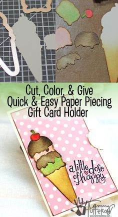 Quick and Easy Paper Piecing Gift Card by Tammy Tutterow featuring Happy Grams 3 Stamps & Dies from Spellbinders Paper Arts
