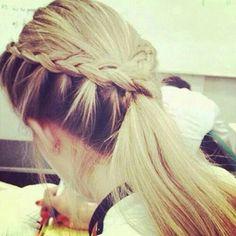 Braids & Ponytail Hairstyles Haircuts, Ponytail Hairstyles, Braid Ponytail, Softball Hairstyles, Fancy Hairstyles, Braided Hairstyle, Style Hairstyle, Hairdos, Updos