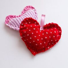 Scented Sweater Satchel : Instead of donating those old sweaters, upcycle them into adorable hand-sewn scented heart satchels. Along with being seriously cute, these little hearts can be filled with fragrant potpourri.