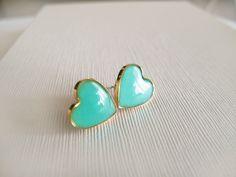 Mint Green Heart Stud Earrings by LamFaTiTa on Etsy, $16.00