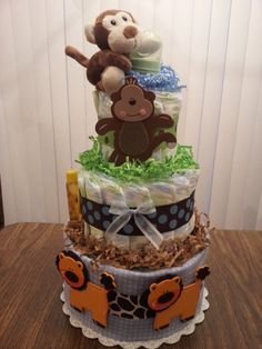 SAFARI theme Monkey, Lion 3 Tier diaper cake baby shower decoration.