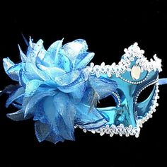 blue Masquerade Masks for Women with feathers Halloween Masks, Halloween Gifts, Blue Masquerade Masks, Feather Mask, Mask Images, Princess Flower, Blue Mask, Winter Wonderland Party, Half Face Mask