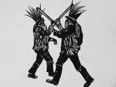 Morris men  original linocut print by TheBlackGoldPress on Etsy, £20.00