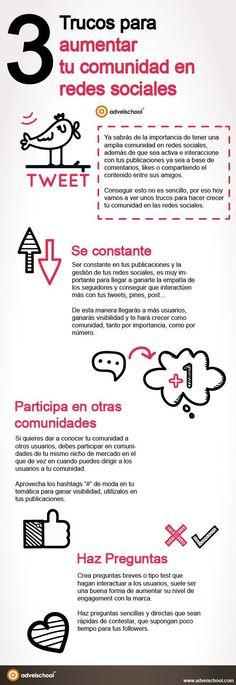 Los mejores consejos para Aumentar tu Comunidad en las Redes Sociales #infografia