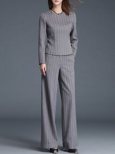 91735df8ffb7 Shop Jumpsuits - Simple Two Piece Stripes Long Sleeve Jumpsuit online. Discover  unique designers fashion