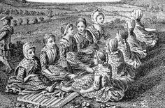 "18th century engraving shows Scotswomen ""waulking"" (aka fulling) wool cloth"