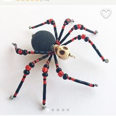Destiny - red and black glass beaded skull spider goth sun catcher - Halloween decoration - Christmas ornament by MossandStoneStudio on Etsy Creepy Halloween Props, Halloween Ornaments, Halloween Jewelry, Halloween Spider, Halloween Crafts, Halloween Decorations, Christmas Ornaments, Halloween Ideas, Christmas Spider