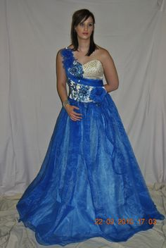 Blue and white evening dress