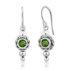 100 Ct Round Green Chrome Diopside 925 Sterling Silver Womens Earrings >>> Check this awesome product by going to the link at the image.
