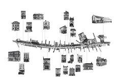 沿街建筑形式,提取街道地图,配上黑白色图片,清晰的展示沿街立面形式和风格。