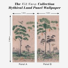 Mythical Land wallpaper from Andrew Martin and the Kit Kemp Collection is inspired by American folk art to create enchanting wall panels. Wallpaper Ceiling, Wallpaper Panels, Fabric Wallpaper, Feature Wallpaper, Kitchen Wallpaper, Inspirational Wallpapers, Growing Tree, Beautiful Interiors, Mythical Creatures