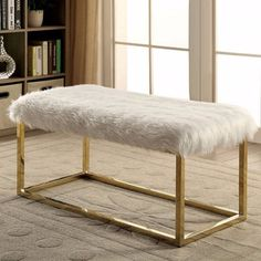Furniture of America Euna II Contemporary Faux Fur Bench, Large, White Furniture, Contemporary Bench, Upholstered Storage, Metal Bench, Fur Bench, Upholstered Storage Bench, Upholstered Bench, Furniture Of America, Bench