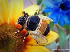 """Купить Брошь """"Мохнатый шмель"""" - оранжевый, черный, шмель, пчела, насекомые, насекомое, жук, жуки"""