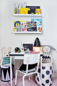 Could powder coat and paint her school chair like this with a table similar and coloured trim and paint the screws different colours for a bit of subtle colour (would probably draw a caricature on her desk in the corner like the old fido dido!)