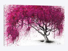 Another great find on Ashvin Harrison Pink Plum Park Wrapped Canvas Canvas Art Prints, Canvas Wall Art, Pink Trees, Arte Pop, Canvas Crafts, Dark Backgrounds, Tree Art, Canvas Frame, Tree Canvas