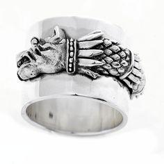 Inel din argint din argint realizat manual Lupul Dacic - simbol al inteligenței, dreptății și nesupunerii.  Există în stoc măsuri de la 51, 53.  Cod produs: CI4172 Greutate: 14.91 gr. Lățime: 1.50 cm Circumferință inel: 51 mm Shape And Form, Lapis Lazuli, Napkin Rings, Agate, Topaz, Wedding Rings, Engagement Rings, Texture, Bracelets