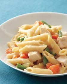 Chicken-Potpie Pasta- yum!. I added a little bit of milk to the white sauce. Needs plenty of salt and garlic pepper.